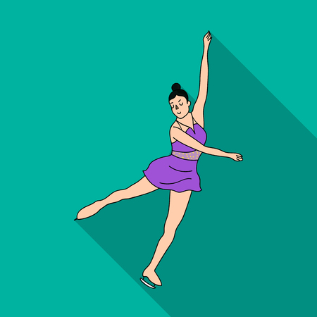 Girl in purple dress dancing on skates on ice.Athlete figure skaters.