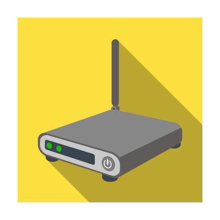 Router icon in flat style isolated on white background. Personal computer accessories symbol stock vector illustration.