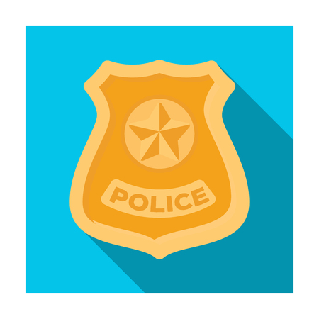 bage: Police badge icon in flat style isolated on white background. Police symbol stock vector illustration. Illustration