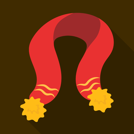 Childrens red scarf with yellow tassels. Scarves and shawls single icon in flat style vector symbol stock illustration.