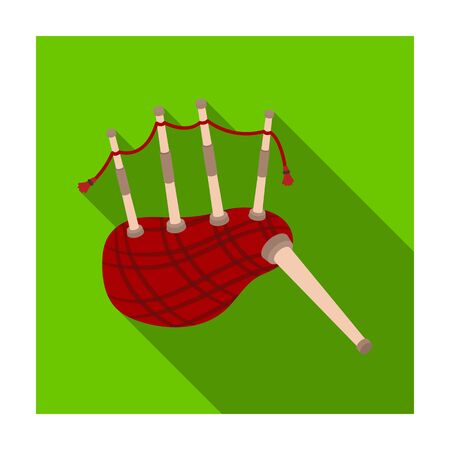 bagpipes: Scottish bagpipes icon in flat style isolated on white background. Scotland country symbol stock vector illustration.