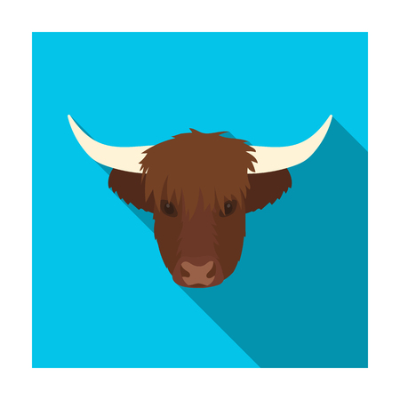 Highland cattle head icon in flat style isolated on white background. Scotland country symbol stock vector illustration.