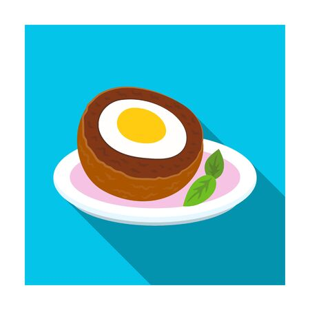 Scotch eggs icon in flat style isolated on white background. Scotland country symbol stock vector illustration. Illustration