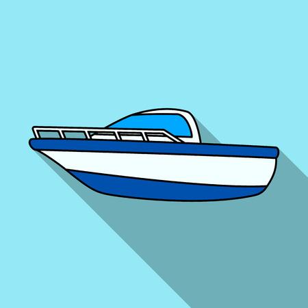 Barca blu del metallo. Barca della pallice. Me mezzi di trasporto su acqua. La nave e l'acqua trasportano la singola icona nell'illustrazione piana delle azione di simbolo di vettore di stile.