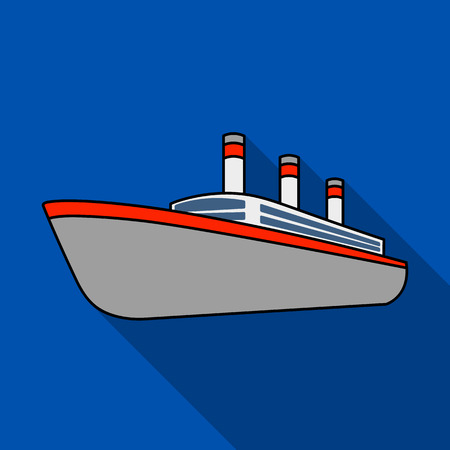 Huge cargo black liner.Ship for transportation of heavy thunderstorms on the sea and the ocean .Ship and water transport single icon in flat style vector symbol stock illustration. Illustration