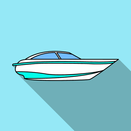 A small white boat with a motor.Boat for speed and competition.Ship and water transport single icon in flat style vector symbol stock illustration. Illustration