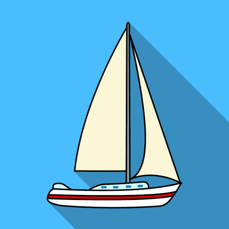 sailingboat: Sailboat for sailing.Boat to compete in sailing.Ship and water transport single icon in flat style vector symbol stock illustration.