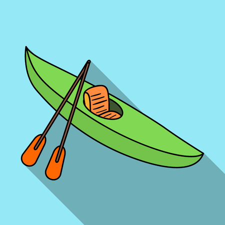 Green kayak for downhill on a mountain river.Sports water transport.Ship and water transport single icon in flat style vector symbol stock illustration. Illustration
