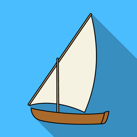 Little river sailing for fun.The boat which sails through the wind.Ship and water transport single icon in flat style vector symbol stock illustration.