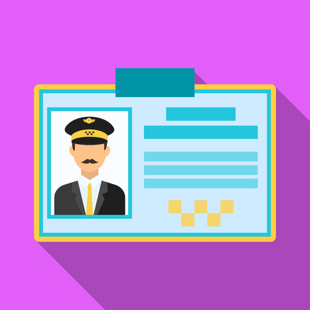 plastik: Driver document taxi.Plastik card taxi driver with photo Taxi station single icon in flat style vector symbol stock illustration. Illustration