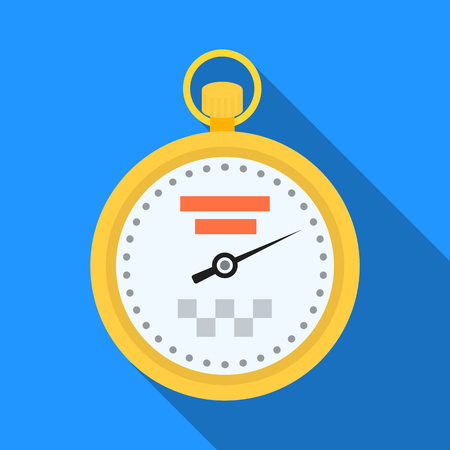 Yellow stopwatch with taxi emblem. Equipment measure the time of filing a taxi. Taxi station single icon in flat style vector symbol stock illustration.