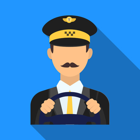 Taxi driver wearing a cap. Man is driving a taxi car. Taxi station single icon in flat style vector symbol stock illustration.