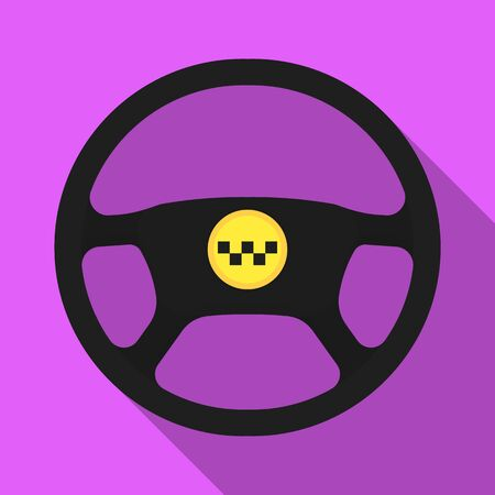 Black wheel with yellow emblem of taxi. The element to control the taxi car.Taxi station single icon in flat style vector symbol stock illustration.