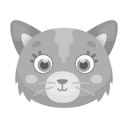 Cat muzzle icon in monochrome style isolated on white background. Animal muzzle symbol stock vector illustration.