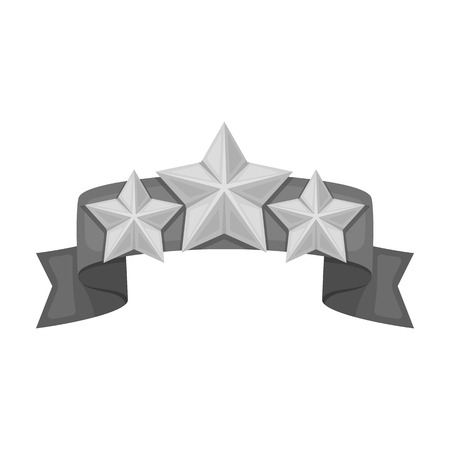 detention: Red ribbon with three stars.Reward a police officer for detention of the criminal.Awards and trophies single icon in monochrome style vector symbol stock illustration.