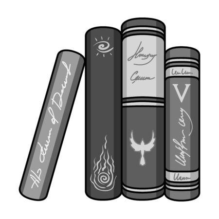 Standing books icon in monochrome style isolated on white background. Books symbol stock vector illustration. Ilustração