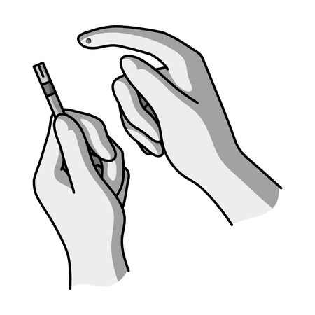 Test for quick measurement of blood sugar on a strip of paper.Diabetes single icon in monochrome style vector symbol stock illustration.