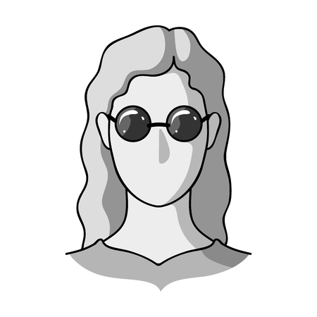 A woman with blond hair with glasses.A blind woman because of diabetes.Diabetes single icon in monochrome style vector symbol stock illustration. Illustration