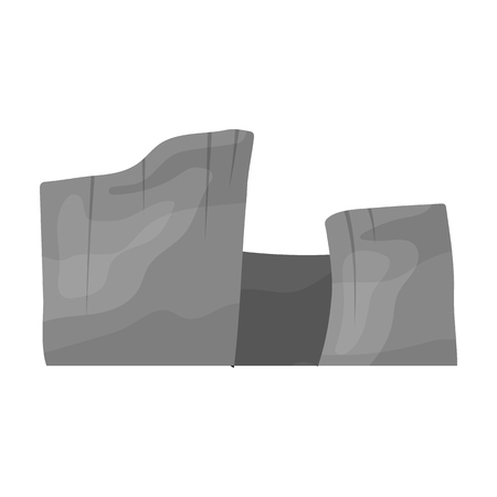 cloudless: Rectangular high mountains of Sandstone.Desert mountains.Different mountains single icon in monochrome style vector symbol stock illustration.