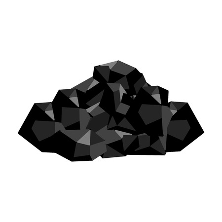 Black minerals from the mine.Coal, which is mined in the mine.Mine Industry single icon in monochrome style vector symbol stock illustration.