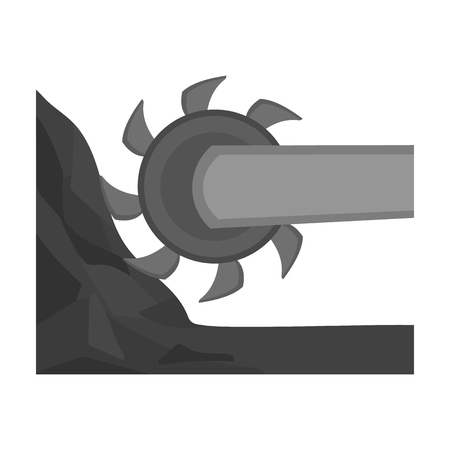 Large cutting wheel. Machine for extraction of minerals.Mine Industry single icon in monochrome style vector symbol stock illustration.