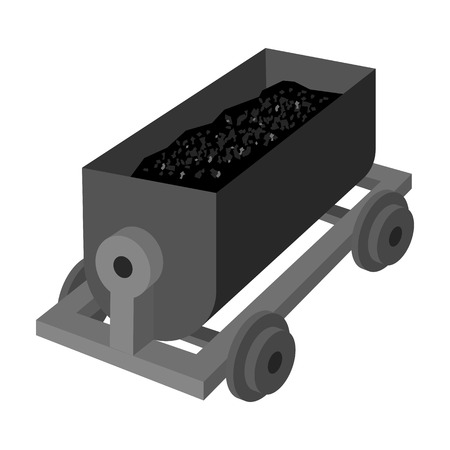 r transportation: The red cart on wheels for lifts minerals from deep mines.Mine Industry single icon in monochrome style vector symbol stock illustration.