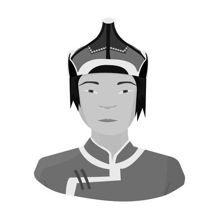 mongols: The Mongols in the helmet.Mongolian national protection.Mongolia single icon in monochrome style vector symbol stock illustration.
