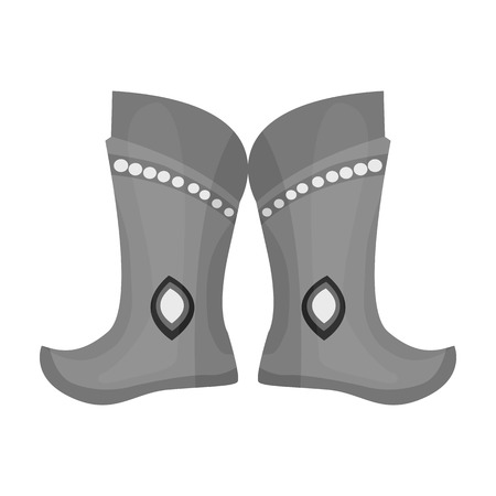 mongols: Military boots of the Mongols.part of the national dress of Mongolia.Mongolia single icon in monochrome style vector symbol stock illustration.