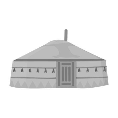 mongols: Tent in the Mongolian patterns.Mongolian tent.Housing the ancient Mongols.Mongolia single icon in monochrome style vector symbol stock illustration.