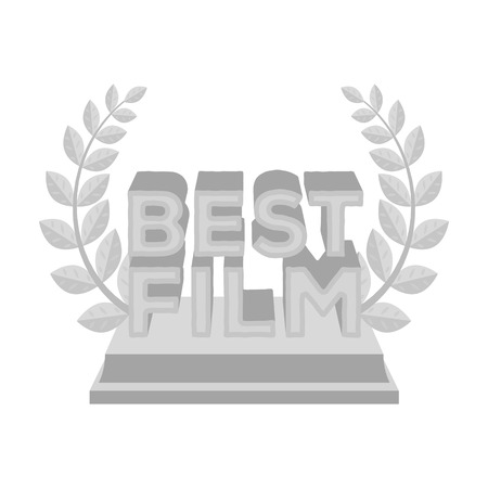 famous actress: Golden statue with a wreath and inscription.The prize for best film.Movie awards single icon in monochrome style vector symbol stock illustration.