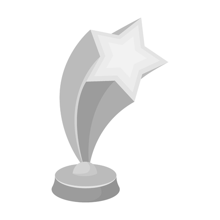 Cup in the shape of silver stars flying upward. Award for best performance of secondary roles.Movie awards single icon in monochrome style vector symbol stock illustration.