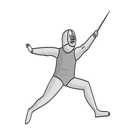 ic: The athlete outfit with a sword. Fencing competitions. sports single icon in monochrome style vector symbol stock illustration.