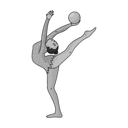 Skinny girl with ball in hand dancing sports dance. The girl is engaged in gymnastics. sports single icon in monochrome style vector symbol stock illustration. Illustration