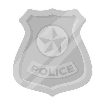 Police badge icon in monochrome style isolated on white background. Police symbol stock vector illustration.