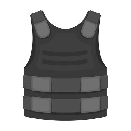 モノクロ スタイル白い背景で隔離の防弾チョッキのアイコン。警察のシンボル株式ベクトル図です。