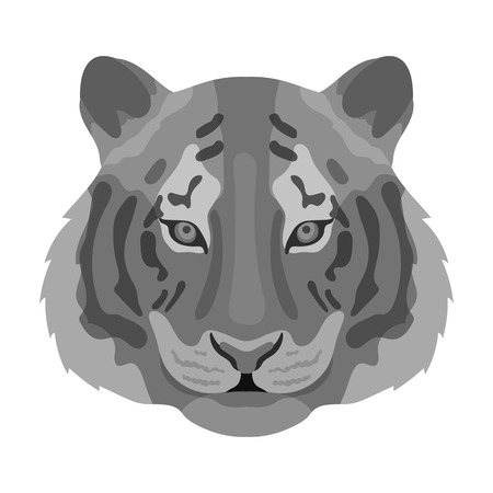 bengal: Tiger icon in monochrome style isolated on white background. Realistic animals symbol stock vector illustration.