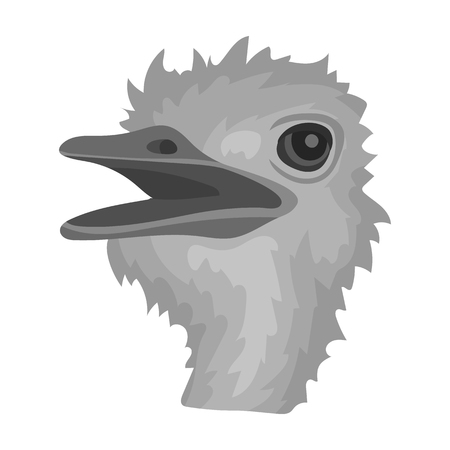 Ostrich icon in monochrome style isolated on white background. Realistic animals symbol stock vector illustration. Illustration