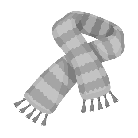 Yellow striped wool scarf.Scarves and shawls single icon in monochrome style vector symbol stock illustration.