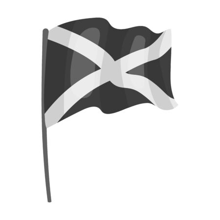 Flag of Scotland icon in monochrome style isolated on white background. Scotland country symbol stock vector illustration.