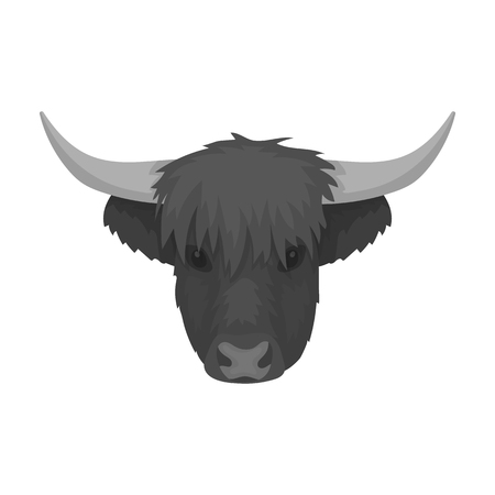 Highland cattle head icon in monochrome style isolated on white background. Scotland country symbol stock vector illustration.