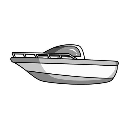 Blue metal boat.Police boat.A means of transportation on water.Ship and water transport single icon in monochrome style vector symbol stock illustration. Ilustração