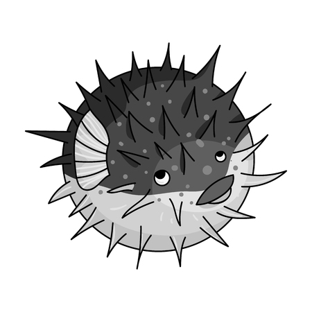 Porcupine fish icon in monochrome style isolated on white background. Sea animals symbol stock vector illustration.