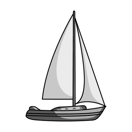 sailingboat: Sailboat for sailing.Boat to compete in sailing.Ship and water transport single icon in monochrome style vector symbol stock illustration.