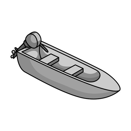 Small metal boat with motor for fishing.Boat for river or lake fishing.Ship and water transport single icon in monochrome style vector symbol stock illustration. Illustration
