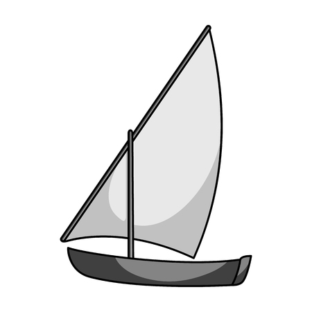 Little river sailing for fun.The boat which sails through the wind.Ship and water transport single icon in monochrome style vector symbol stock illustration.