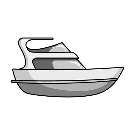 Expensive yacht for rich people.Yacht for vacations and short trips.Ship and water transport single icon in monochrome style vector symbol stock illustration.
