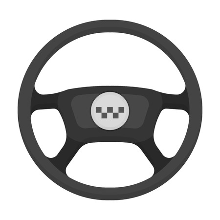 Black wheel with yellow emblem of taxi. The element to control the taxi car.Taxi station single icon in monochrome style vector symbol stock illustration.