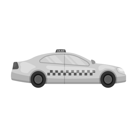 Yellow taxi car in profile.Transport taxi station for passengers. Taxi station single icon in monochrome style vector symbol stock illustration