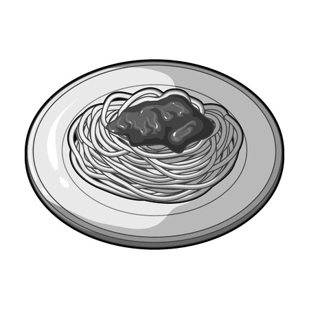 The dish in which wheat spaghetti with red sauce.Main dish vegetarian.Vegetarian Dishes single icon in monochrome style vector symbol stock illustration.