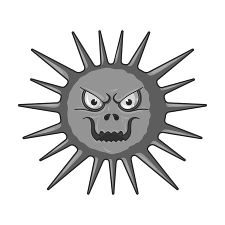Gray virus icon in monochrome style isolated on white background. Viruses and bacteries symbol stock vector illustration. Illustration